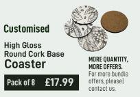 Customised Coaster High Gloss Round Cork Base (Pack Of 8)