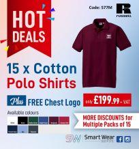 15 x Men's Ultimate Cotton Polo Shirt + Free Chest Logo