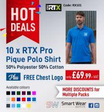 10 X PRO RTX Pro Piqué Polo Shirt + Free Chest Logo