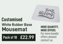 Customised Mousemat White Rubber Base (Pack of 10)
